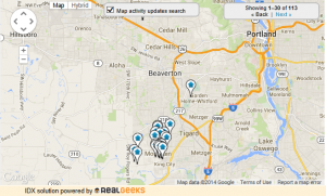 Map of Homes For Sale in Tigard